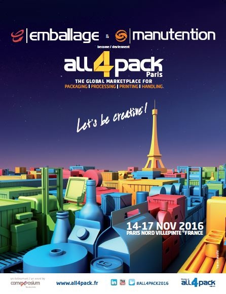 Visuel ALL4PACK Paris - Salon Emballage - Manutention Novembre 2016